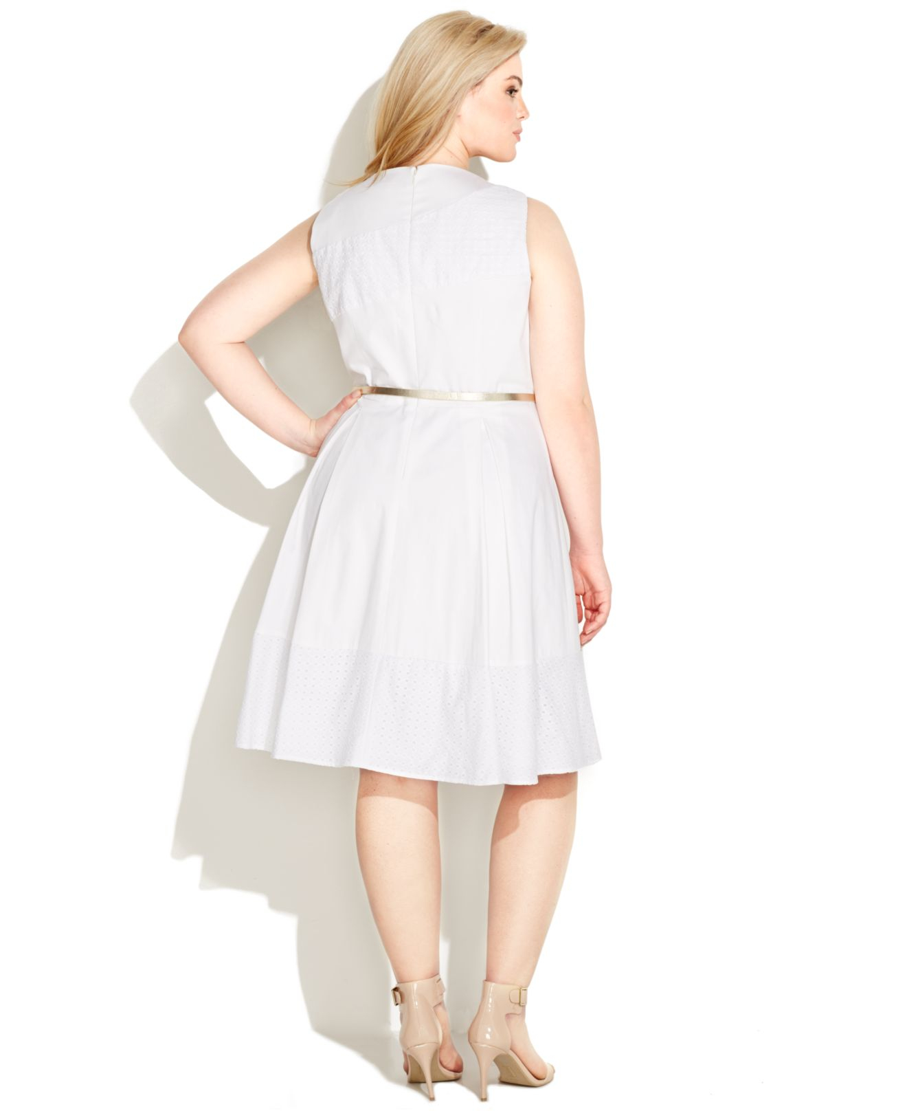 30145e46a2 Calvin Klein Plus Size Eyelet Belted A-line Dress in White - Lyst