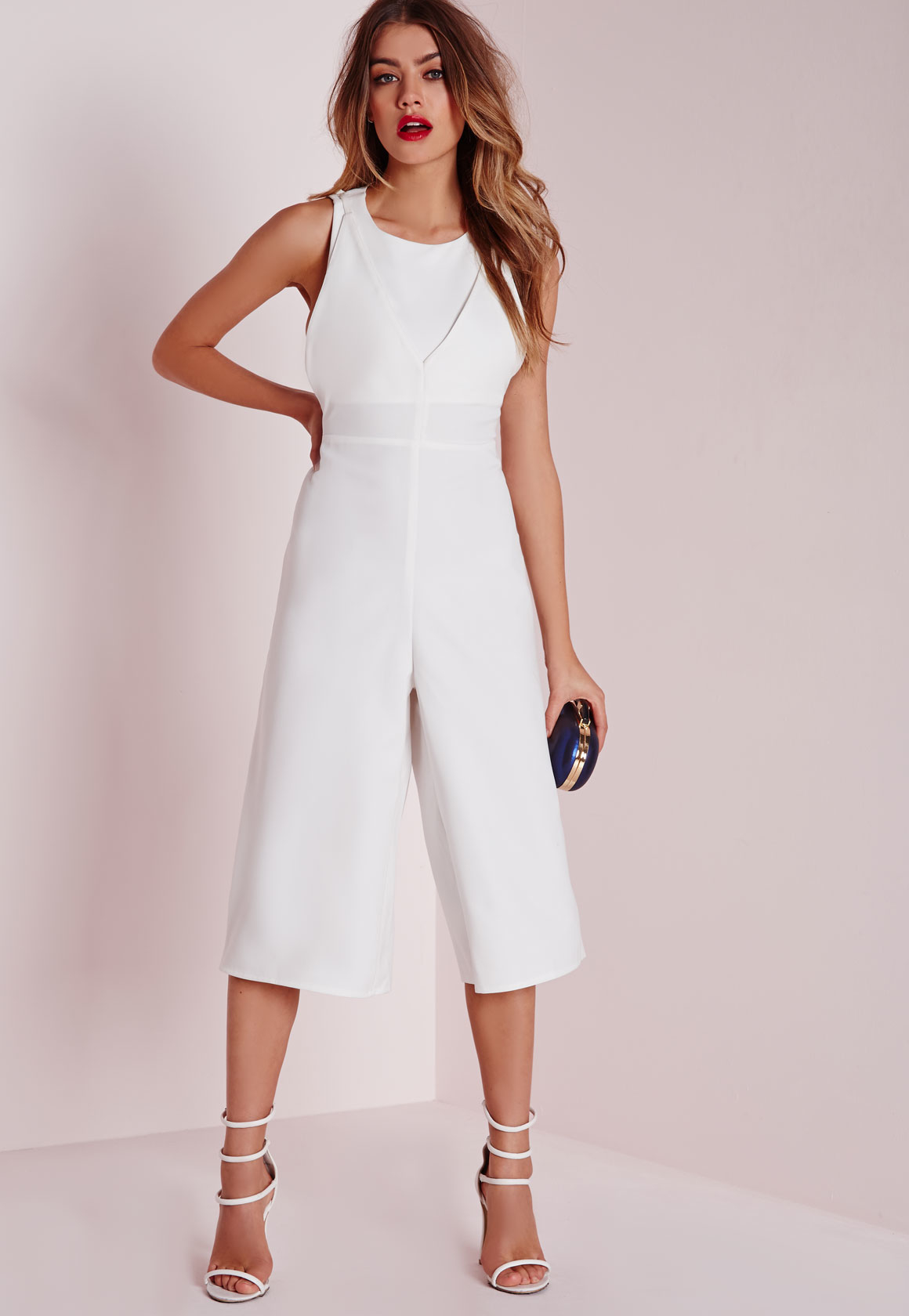 1bf77809b41 Missguided Double Layer Cut Out Jumpsuit White in White