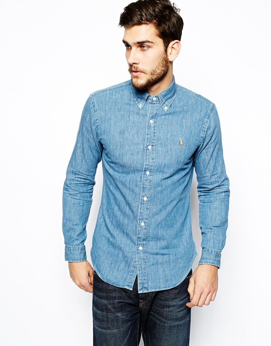 lyst polo ralph lauren shirt in dark wash denim slim fit in blue for men. Black Bedroom Furniture Sets. Home Design Ideas