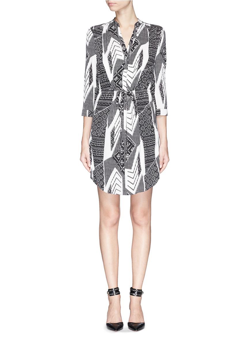 Lyst diane von furstenberg 39 freya 39 ethnic print silk for Diane von furstenberg shirt