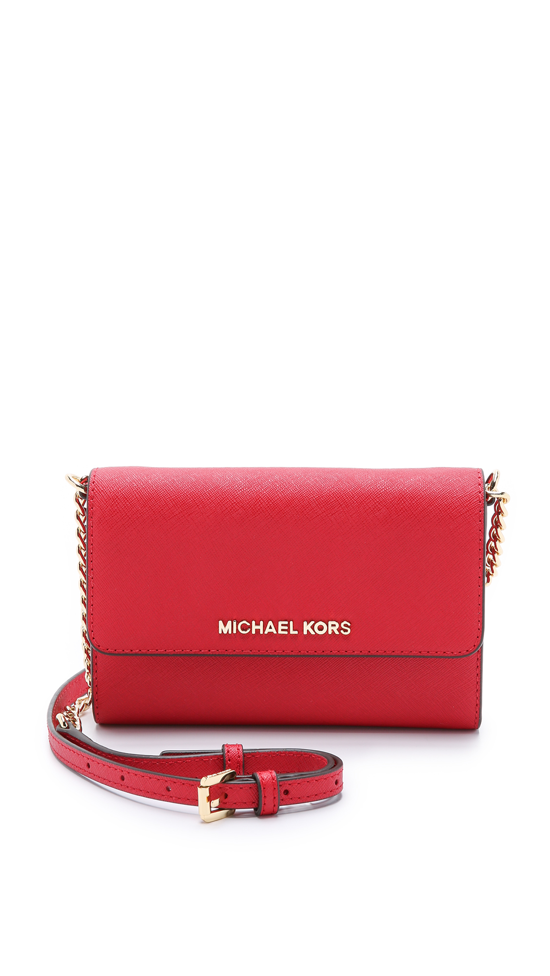 27500b5ceddc ... cheap lyst michael michael kors jet set cross body bag chili in red  6b3a3 e0bd3