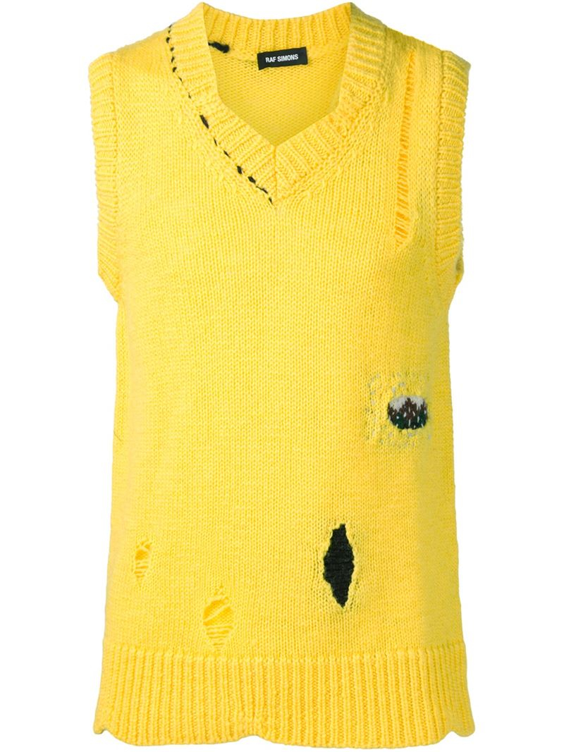 348a9665f59571 Lyst - Raf Simons Distressed Knit Vest in Yellow for Men