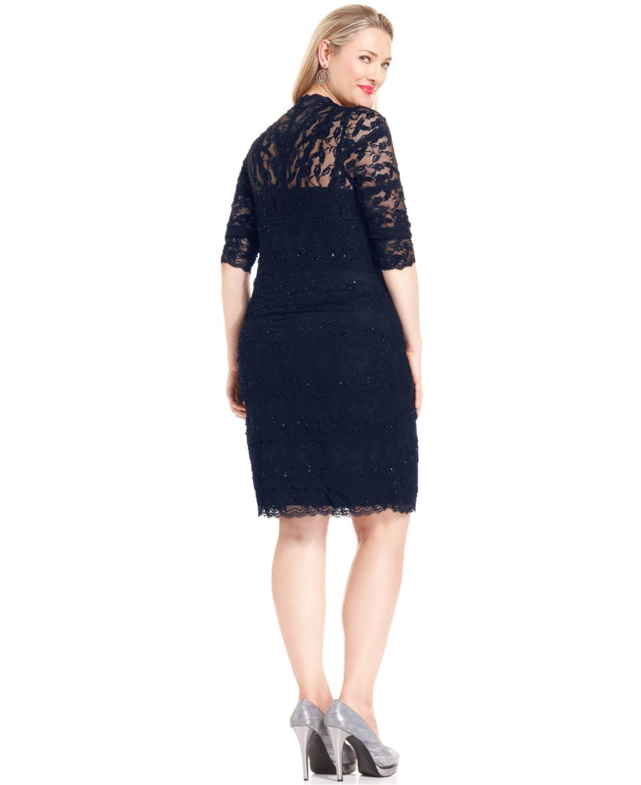 Blue Lace Dress Plus Size Fashion Dresses