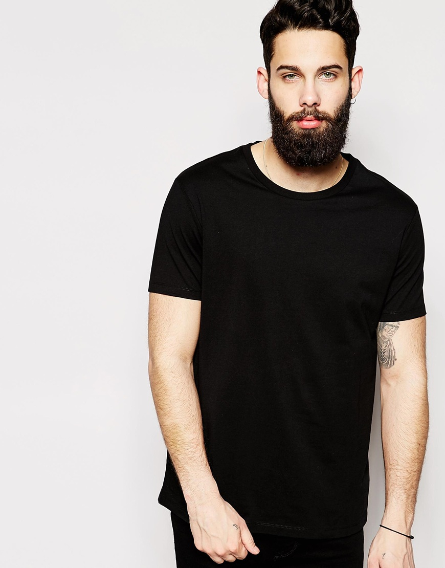 Lyst - Asos T-shirt With Crew Neck And Relaxed Fit in Black for Men