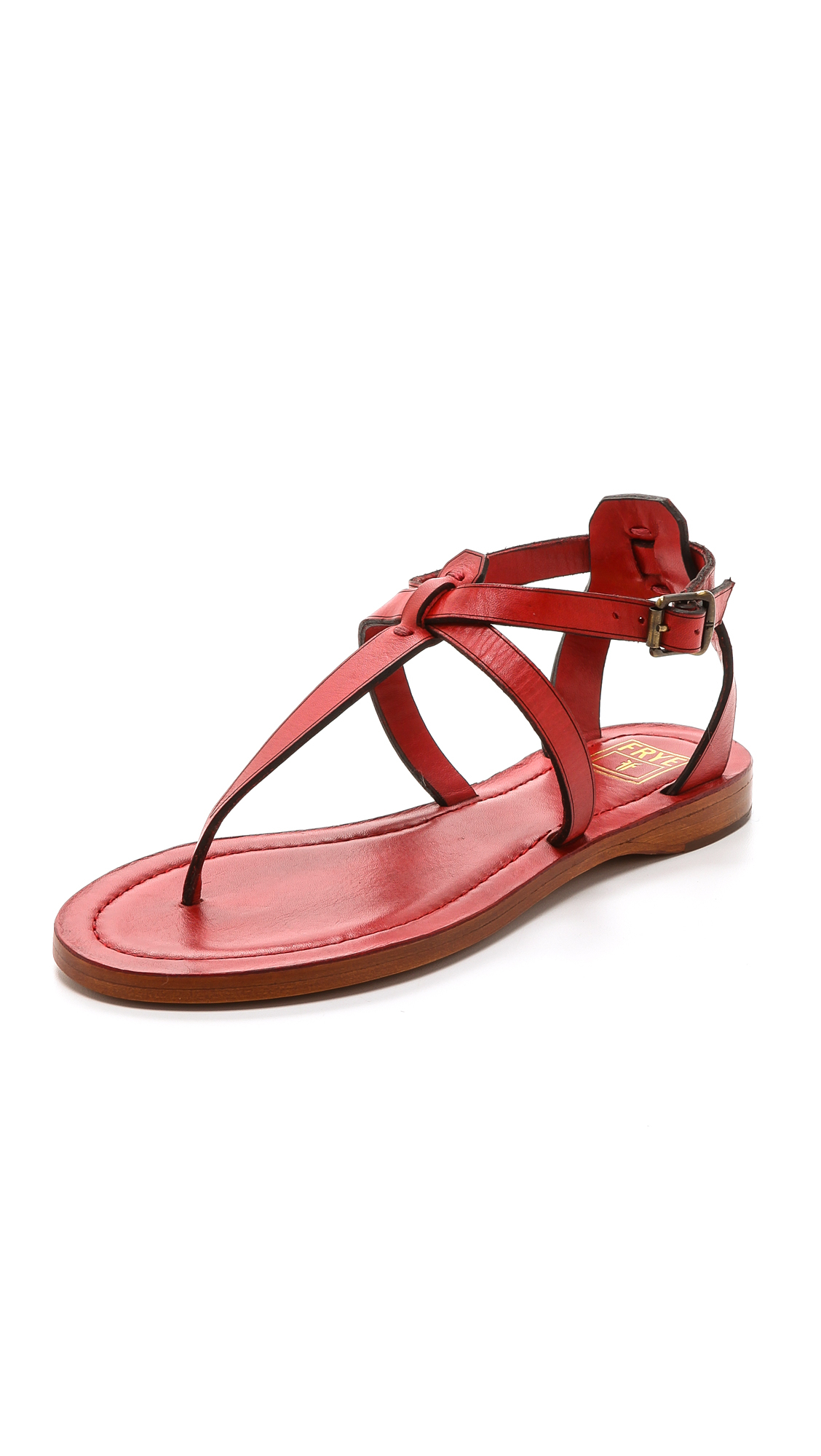 Frye Carson T Strap Sandals In Red Lyst