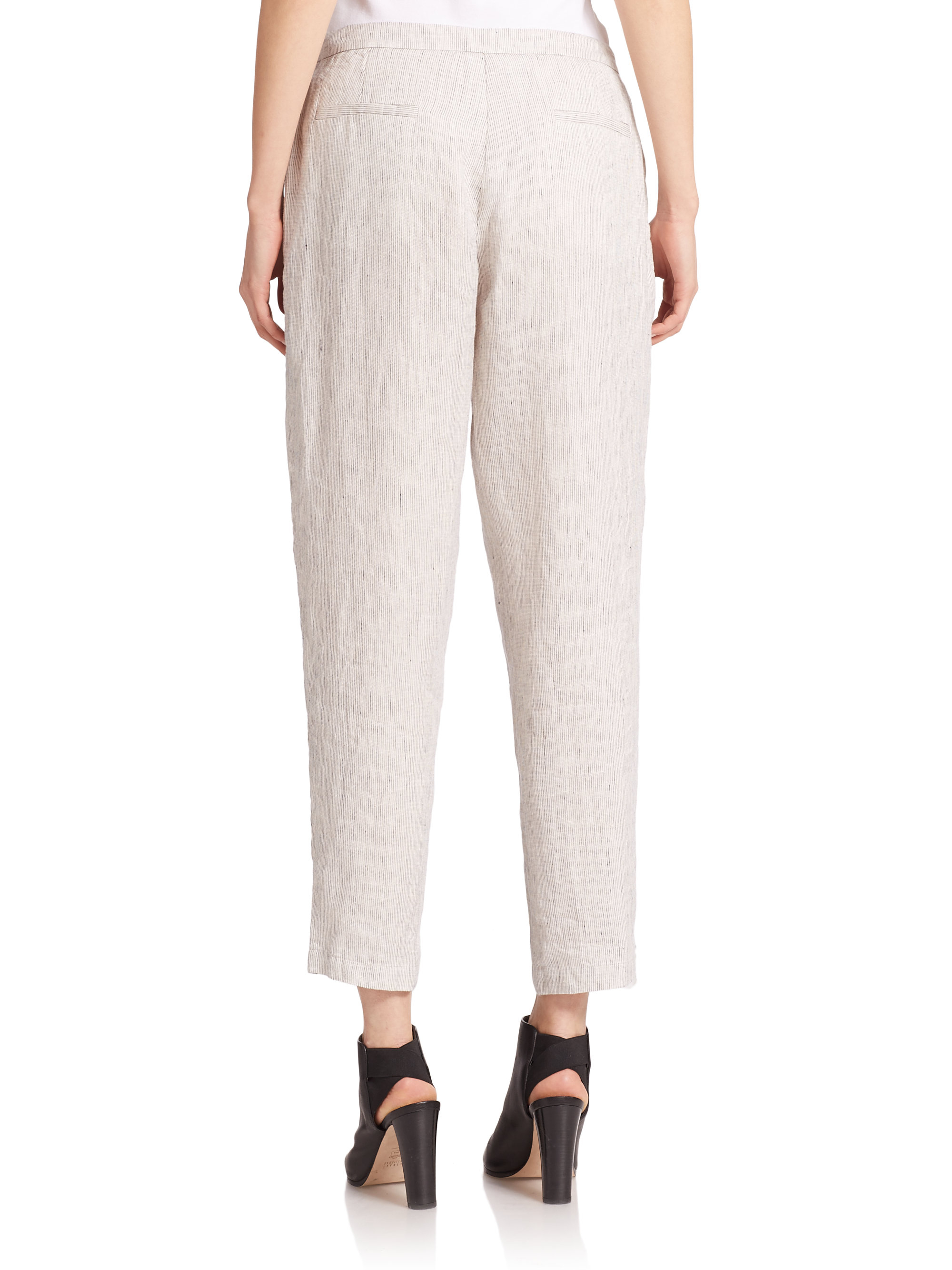 Lyst Eileen Fisher Slub Linen Pants In White