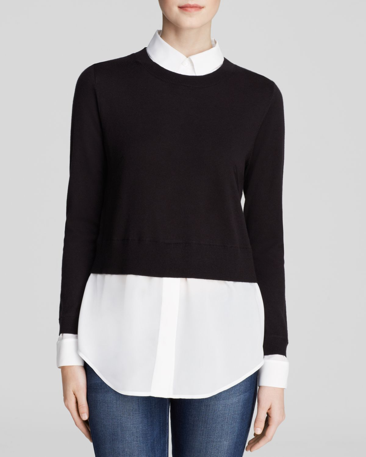 Dylan gray sweater shirt combo in black lyst for Sweater and dress shirt combo