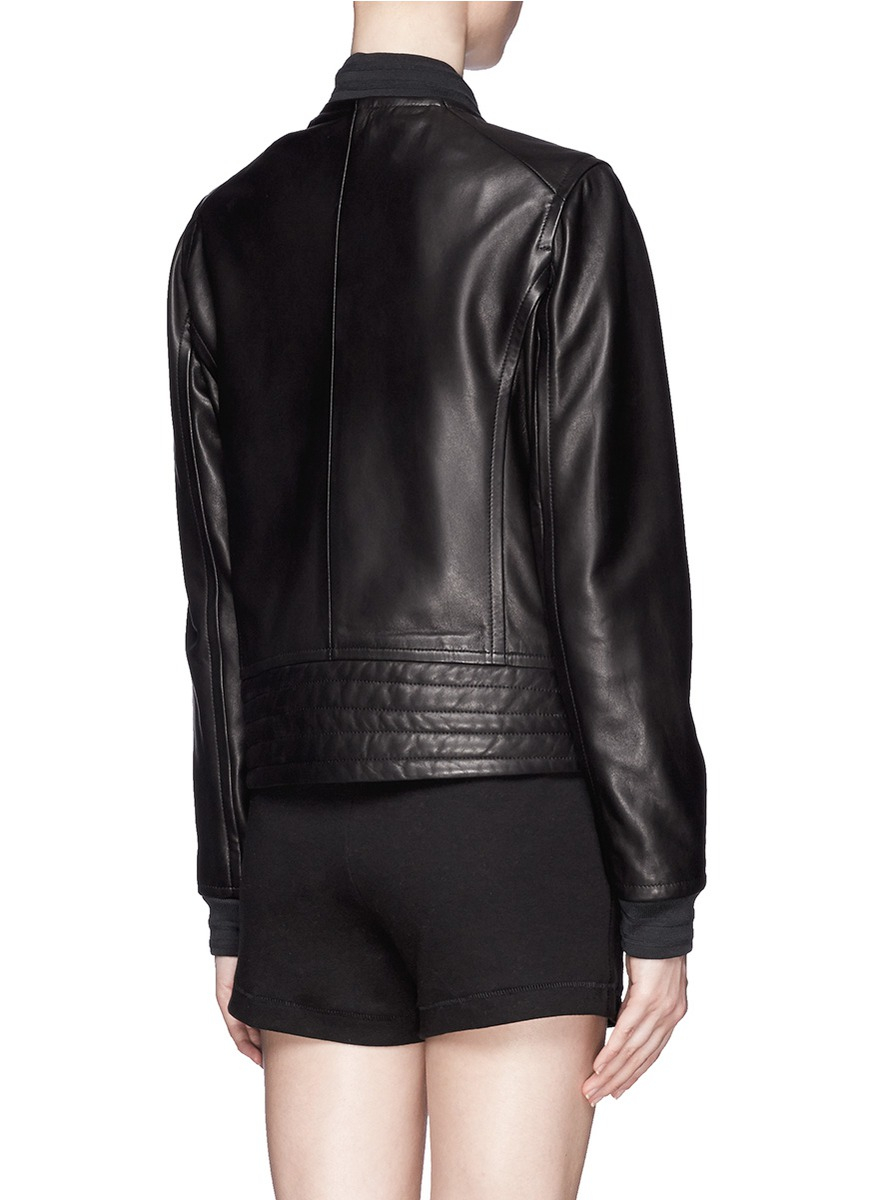 Rag Amp Bone Skidpan Leather Bomber Jacket In Black Lyst