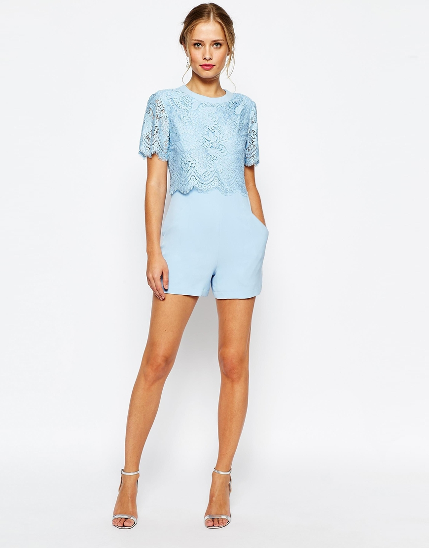 d138232fadf Lyst - Ted Baker Zasha Plasuit In Lace in Blue