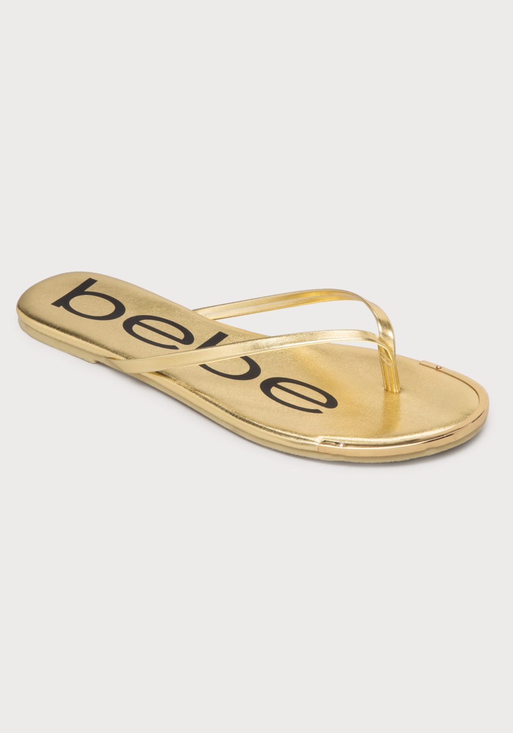 6bd65e248 Lyst - Bebe Ilana Logo Flip Flops in Metallic