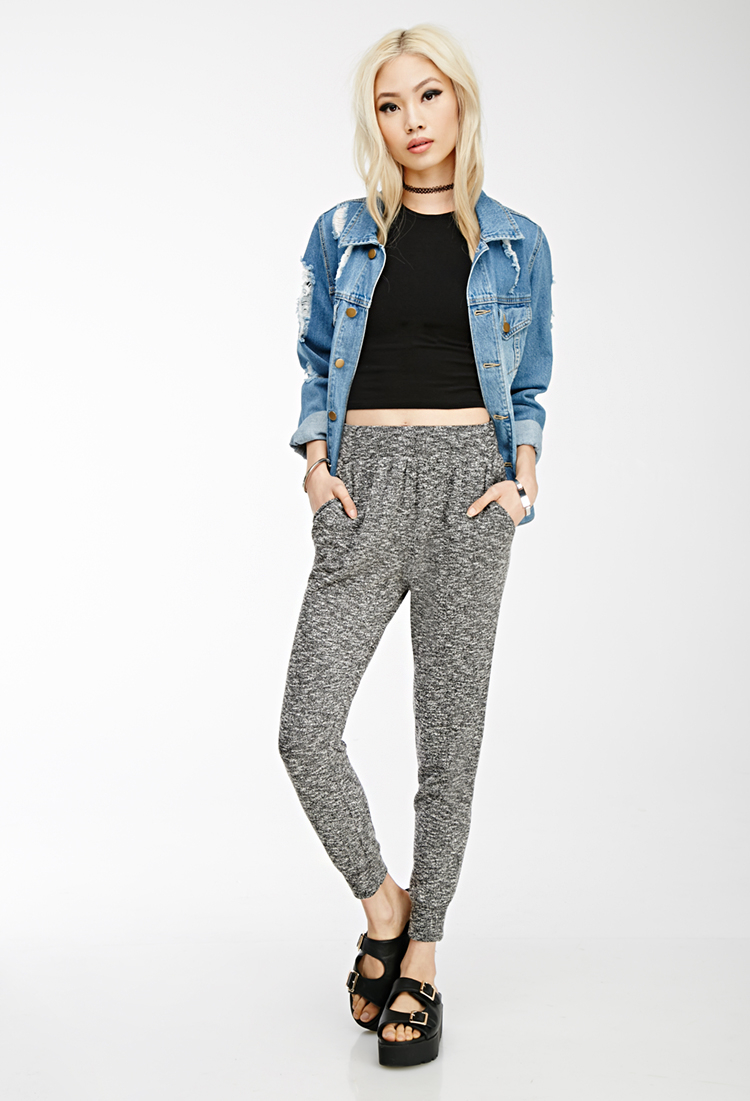 54116370b1f Forever 21 Marled Knit Sweatpants in Black - Lyst