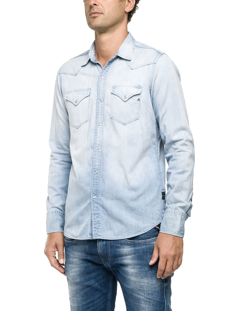 Lyst replay light blue denim shirt in blue for men for Replay blue jeans t shirt