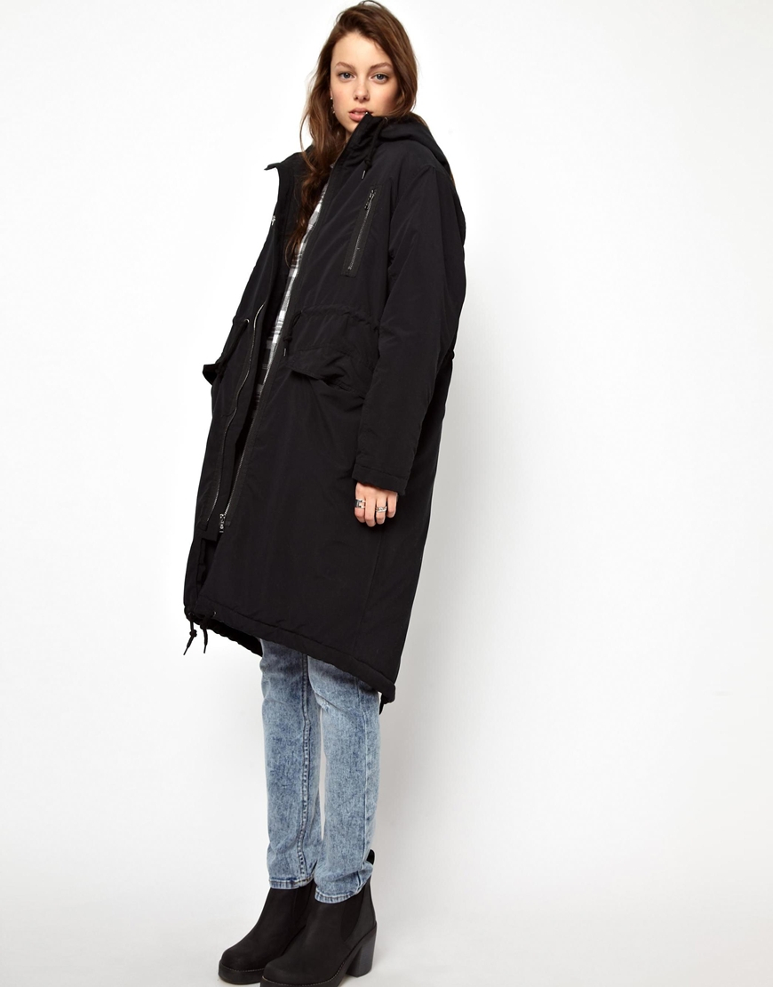 Cheap monday Parka Coat in Black | Lyst