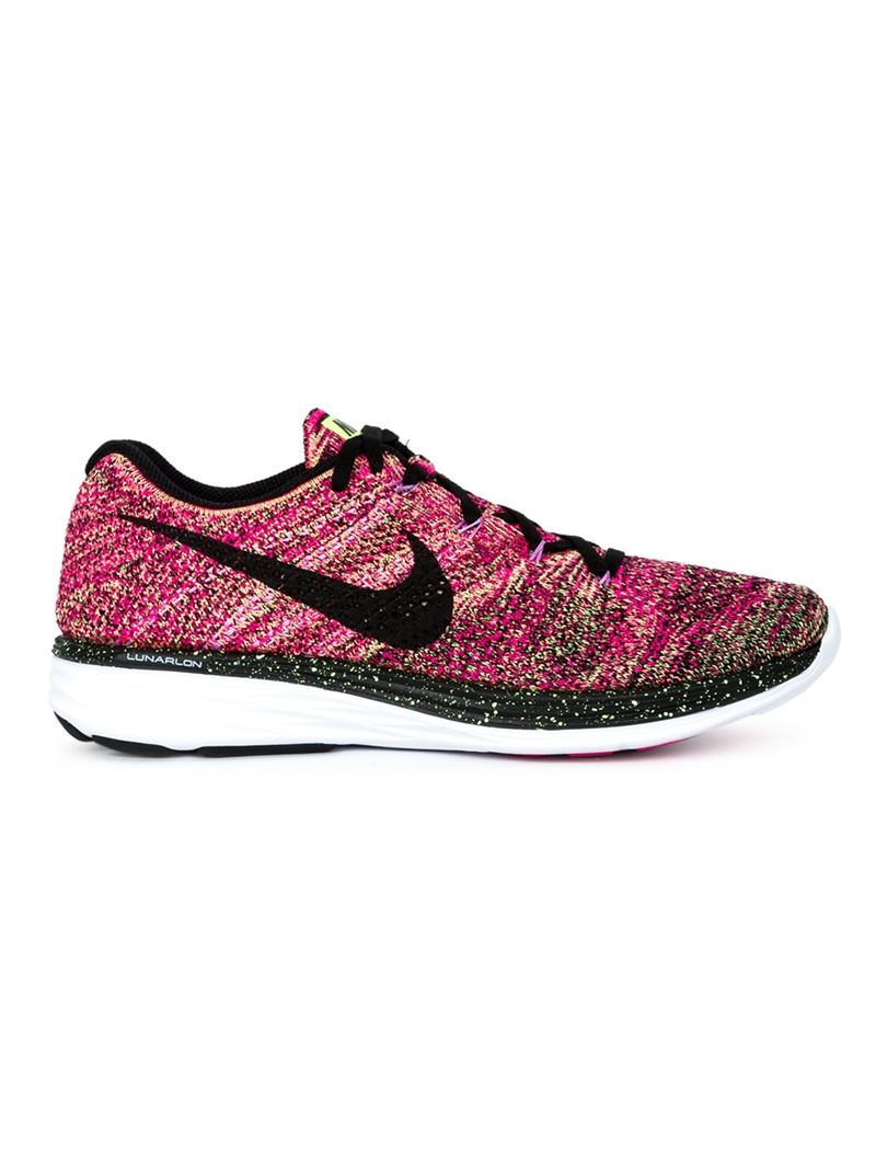 nike 39 flyknit lunar 3 39 sneakers in pink lyst. Black Bedroom Furniture Sets. Home Design Ideas
