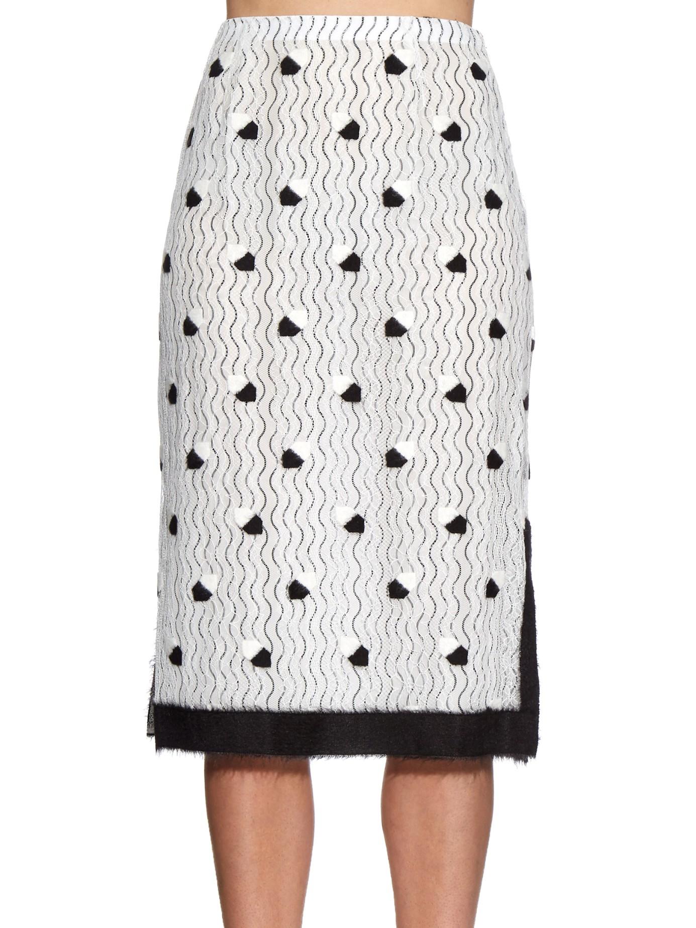 marco de vincenzo bi colour lace pencil skirt in white lyst