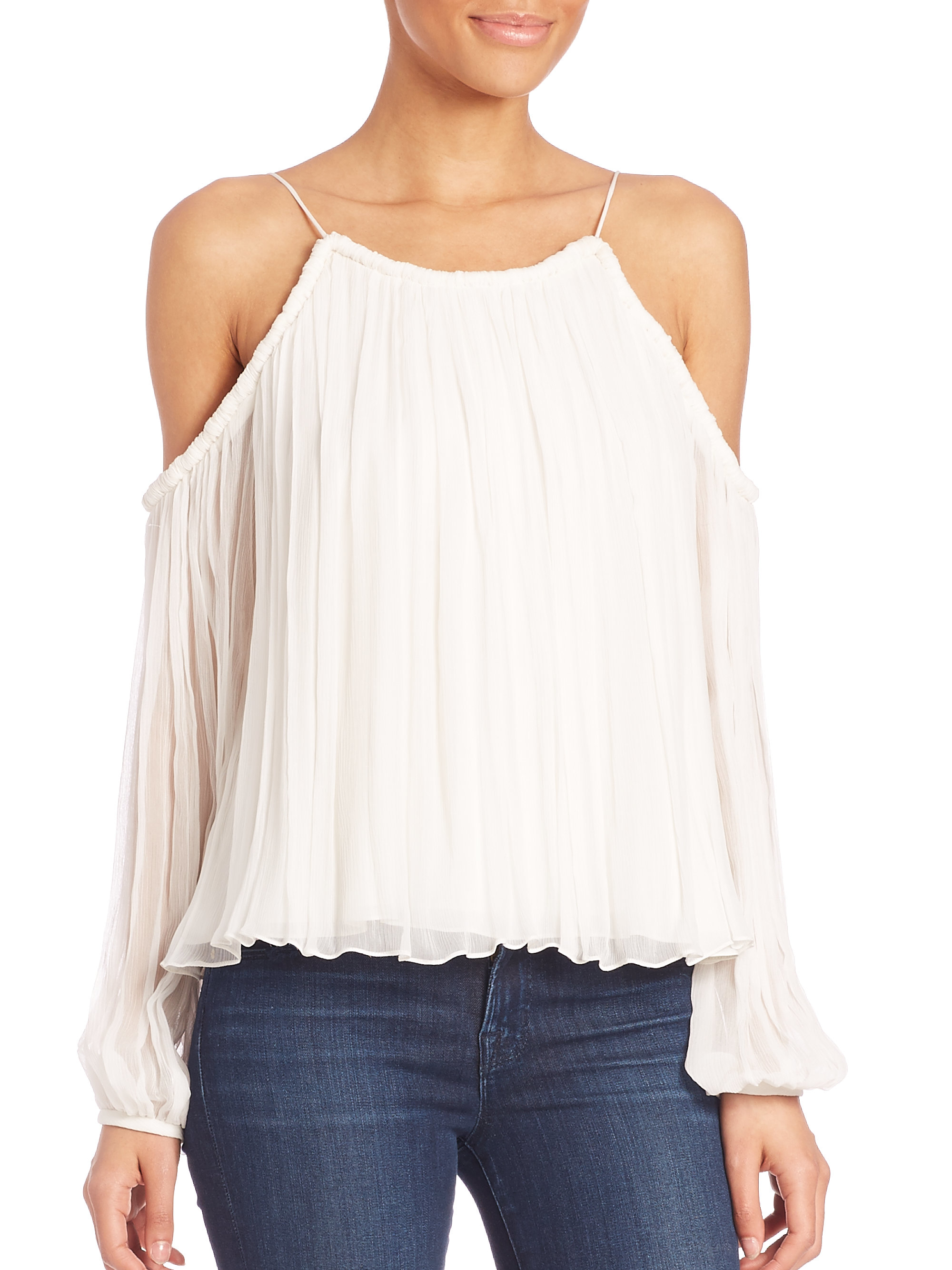 f850efe27053d5 Lyst - Elizabeth and James Maylin Silk Blouse in White