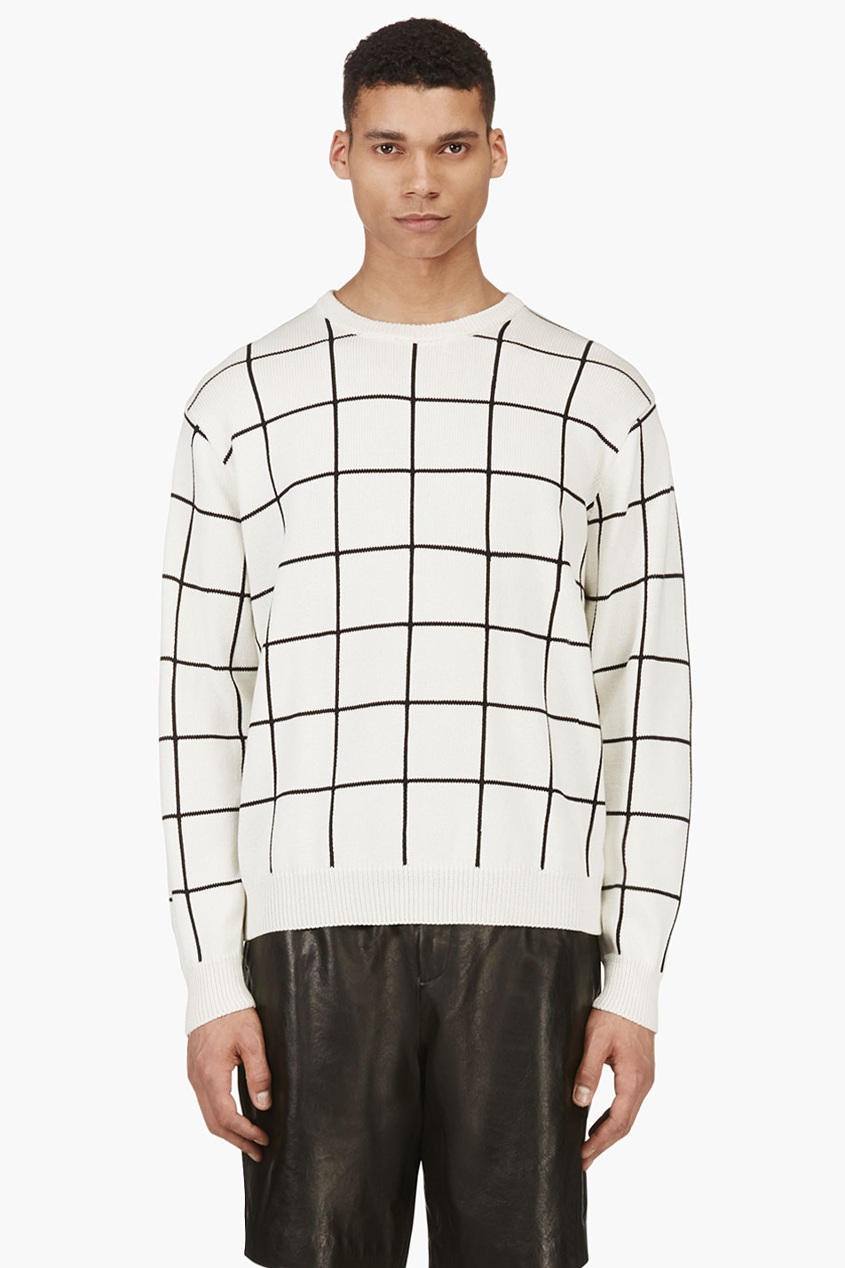 62d081a4140f Lyst - T By Alexander Wang Ivory Grid Check Knit Sweater in White ...