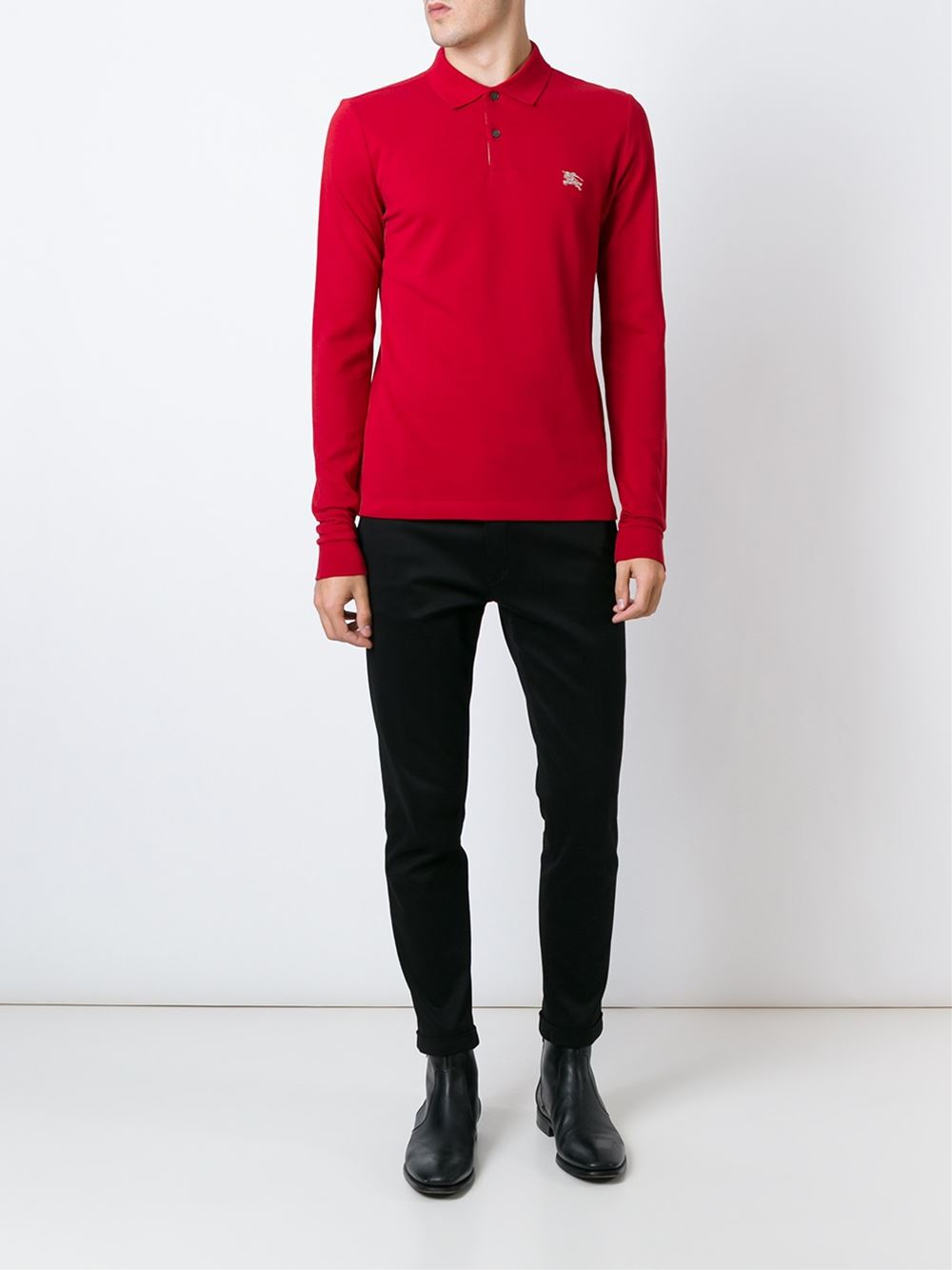 Lyst Burberry Brit Long Sleeve Polo Shirt In Red For Men