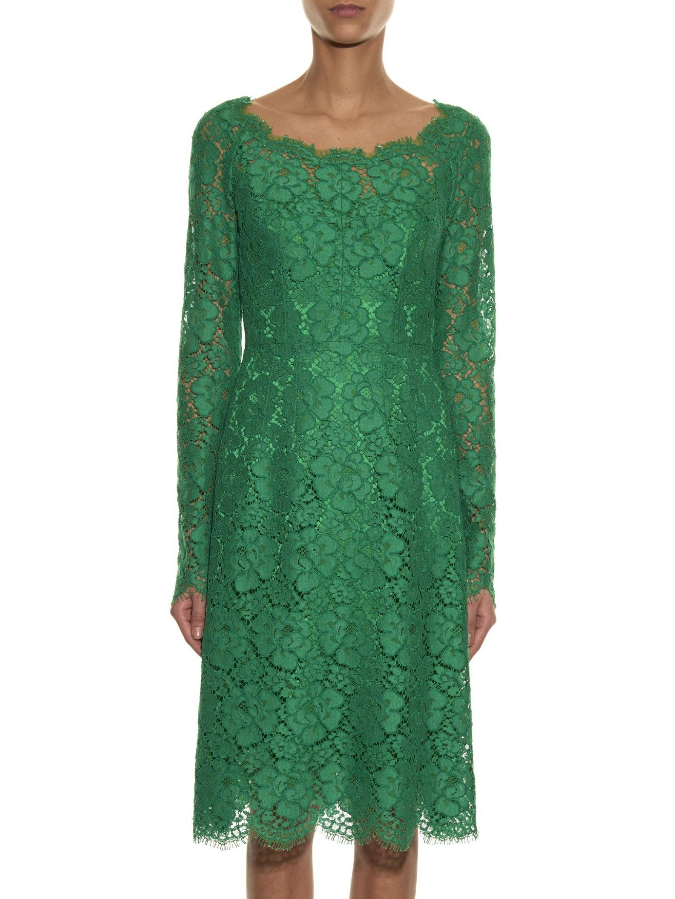7b11e793 Dolce & Gabbana Boat-neck Lace Dress in Green - Lyst