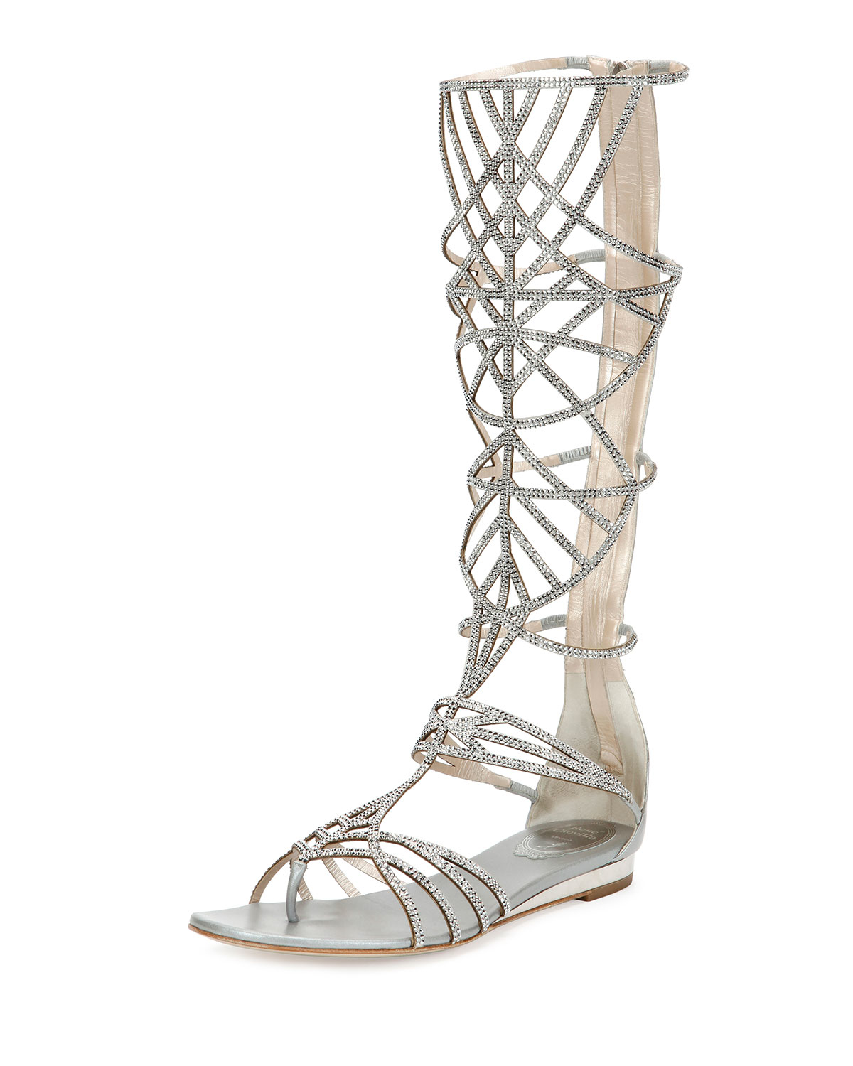 5a1975fa06d833 Lyst - Rene Caovilla Crystal-Embellished Gladiator Sandals in Metallic