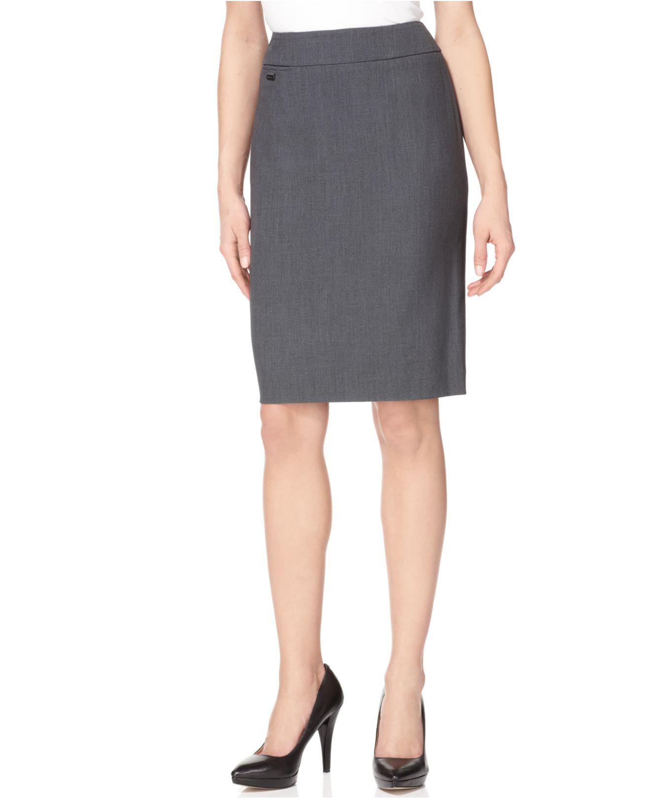 calvin klein pencil skirt in gray navy lyst