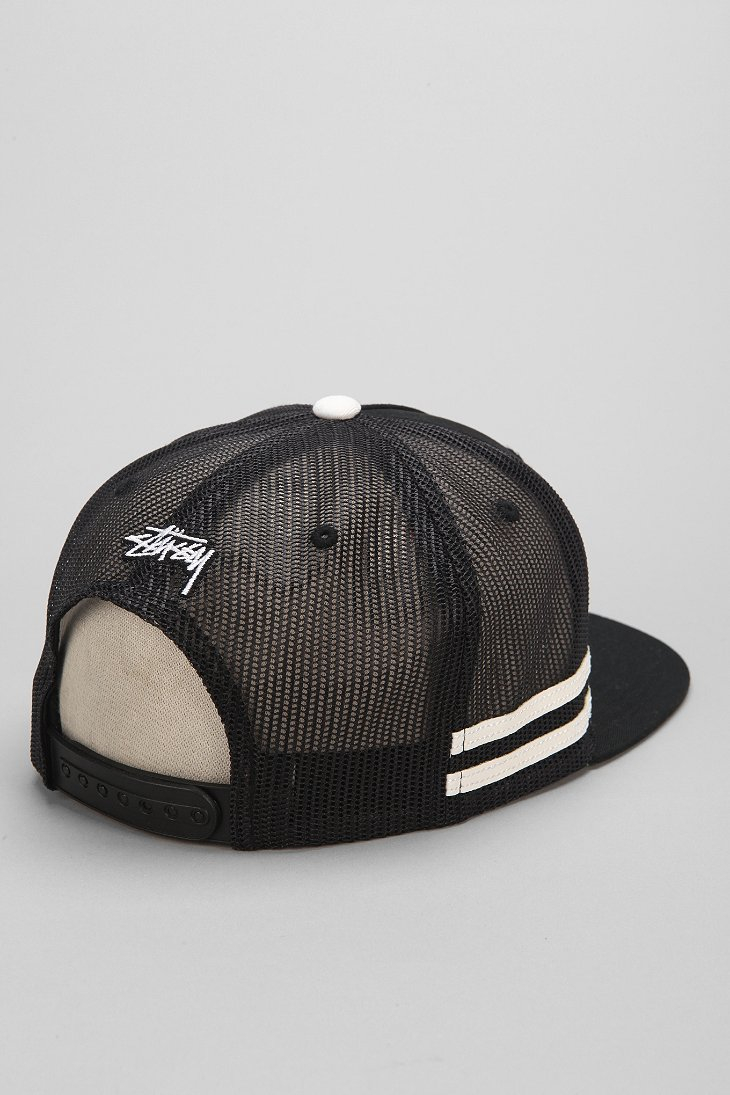 Stussy Mesh Trucker Hat In Black For Men Lyst