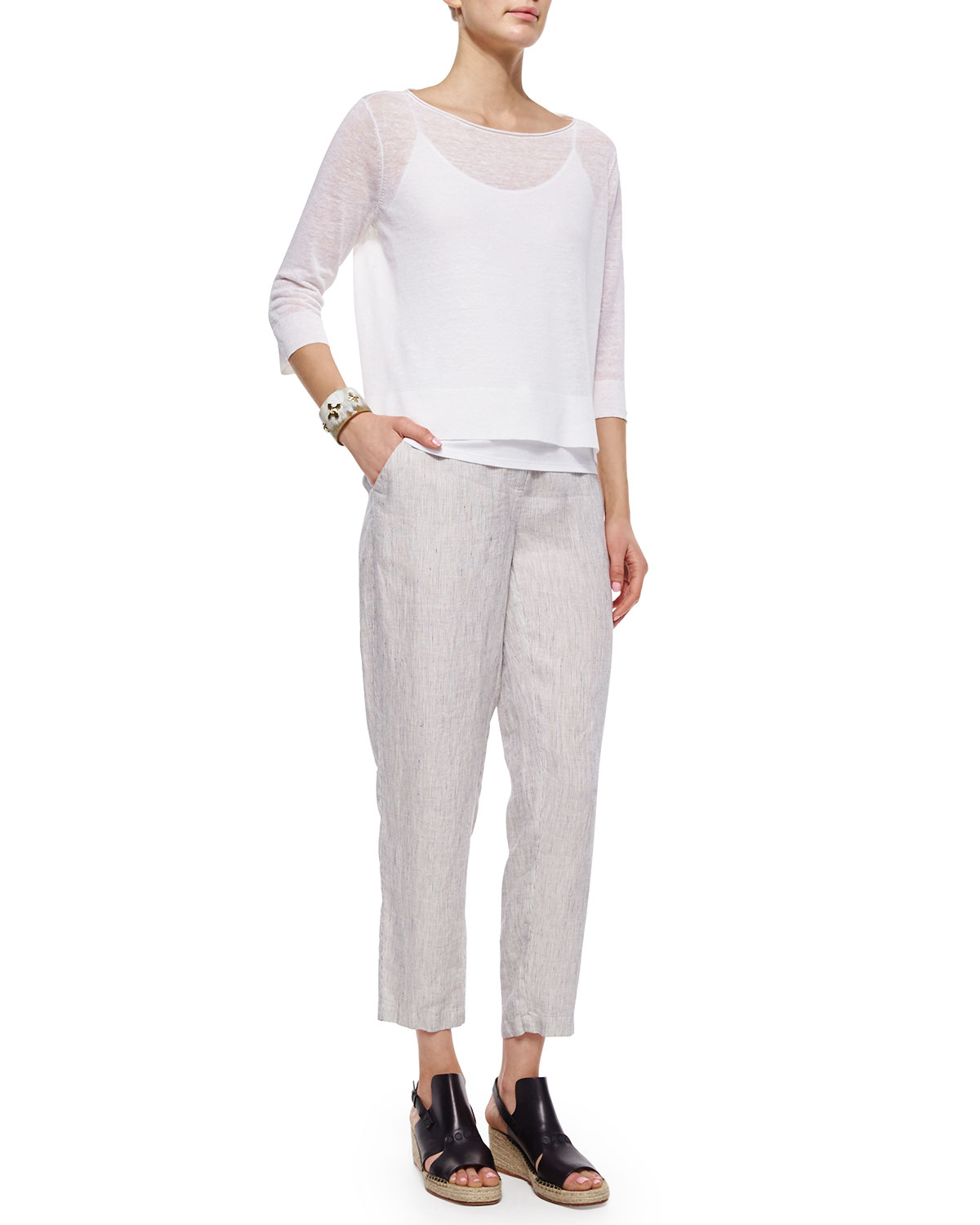 Eileen fisher Slouchy Organic Linen Ankle Pants in Gray | Lyst