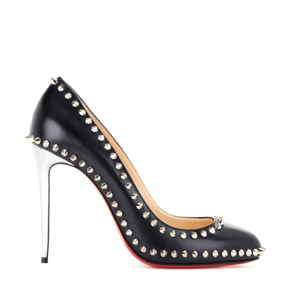 Christian louboutin Dorispiky Embellished Leather Pumps in Black ...