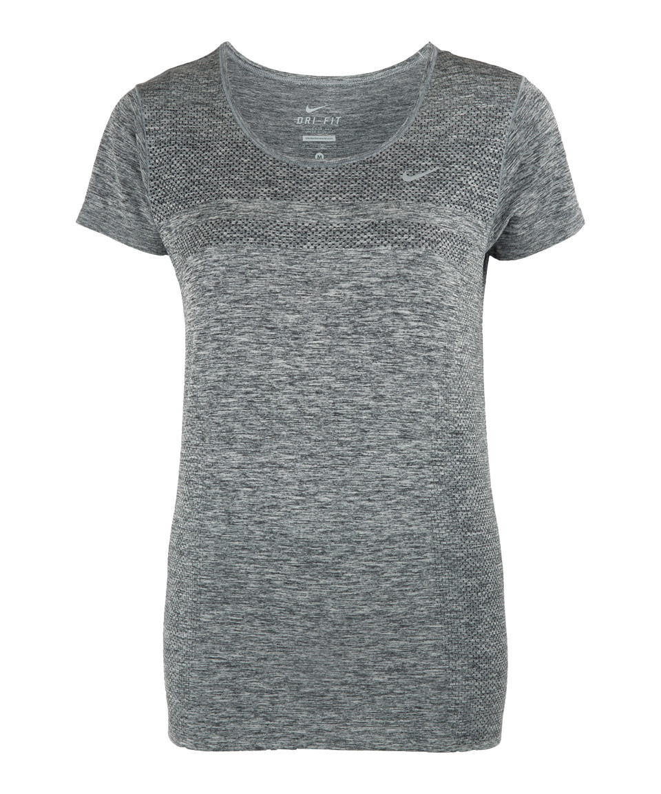 nike grey dri fit knit short sleeve running top in gray lyst. Black Bedroom Furniture Sets. Home Design Ideas