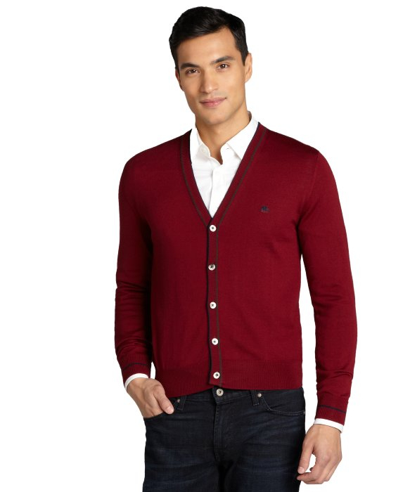 Etro Bordeaux Button Up V-Neck Cardigan Sweater in Red for Men | Lyst