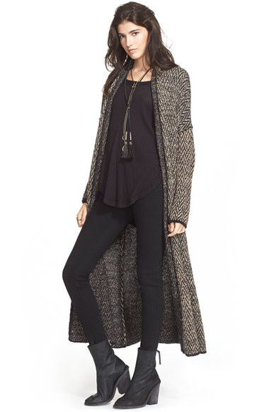 Lyst Free People Long Sweater Coat In Black