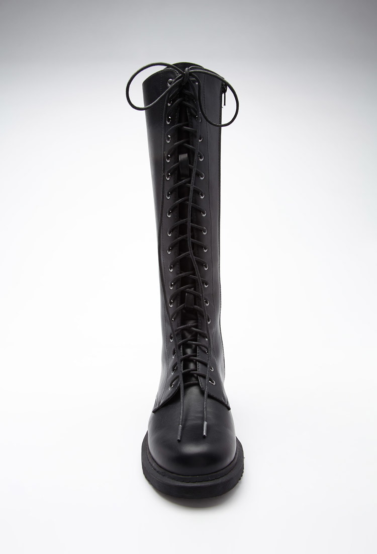 Forever 21 Tall Lace-up Boots in Black | Lyst