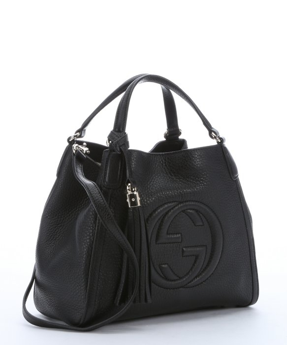 gucci black leather soho convertible bag in black lyst
