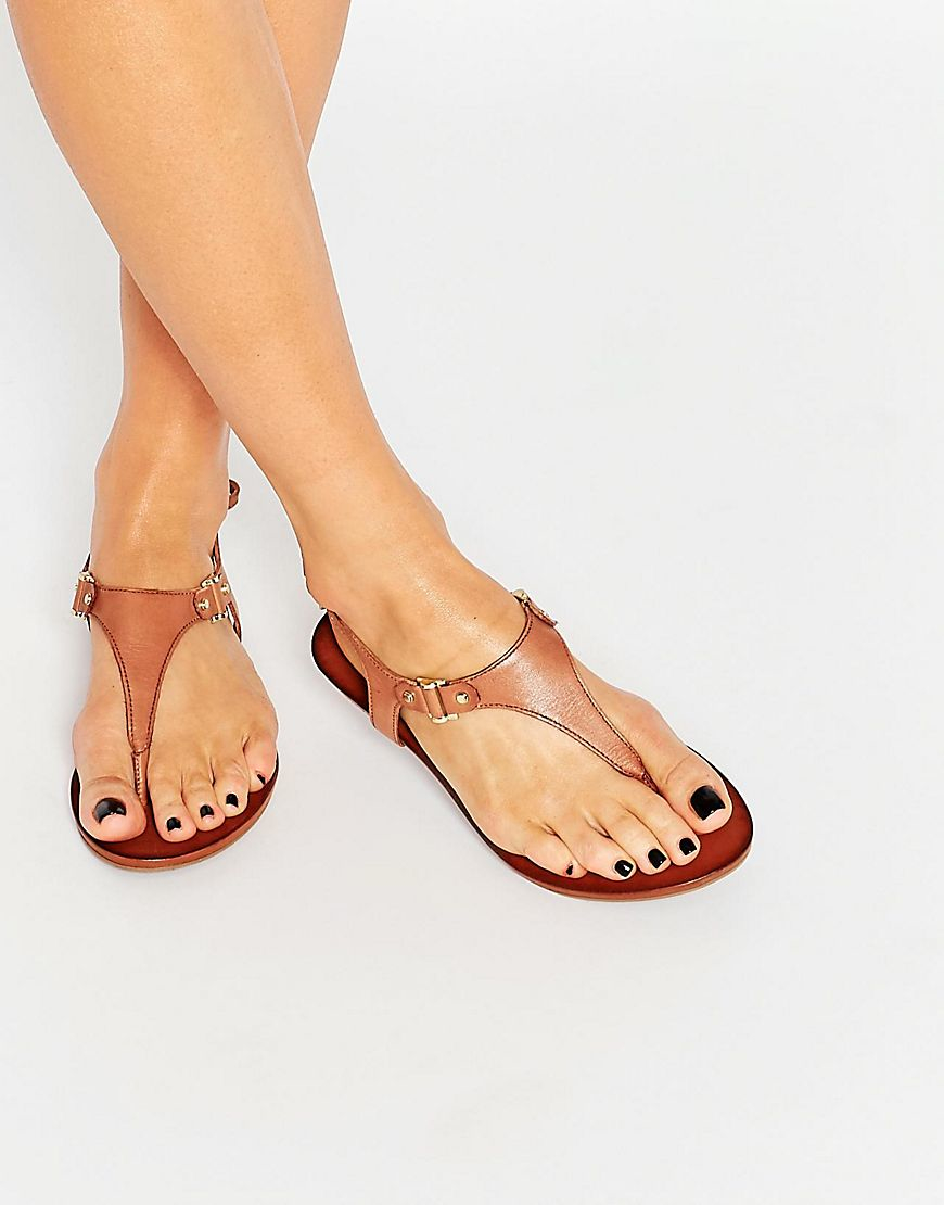 85aa33e08 Lyst - ALDO Ldo Ashley Cognac Ankle Fastener Thong Sandals in Brown