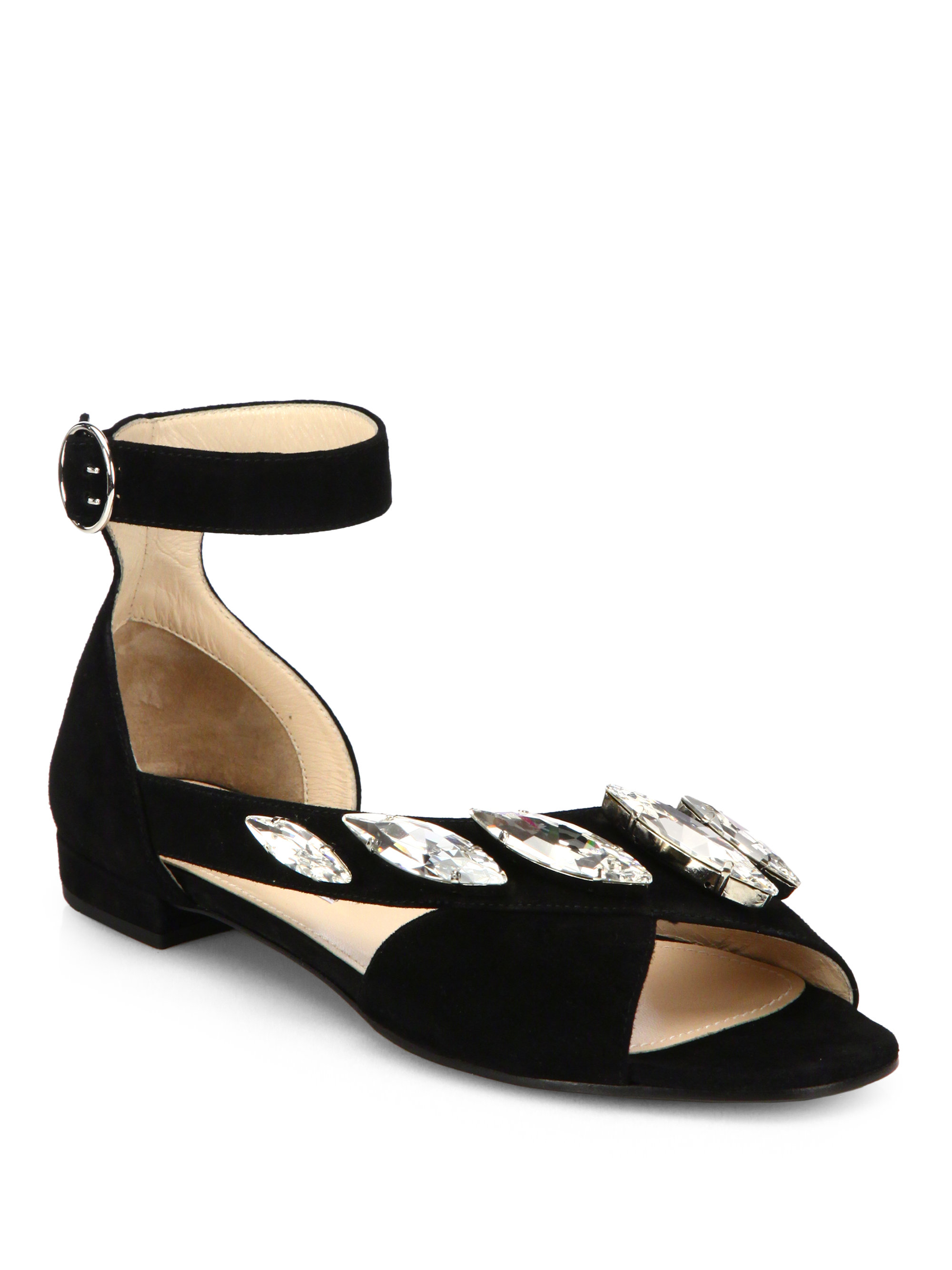 7c04b0845 Lyst - Prada Jeweled Suede Anklestrap Sandals in Black