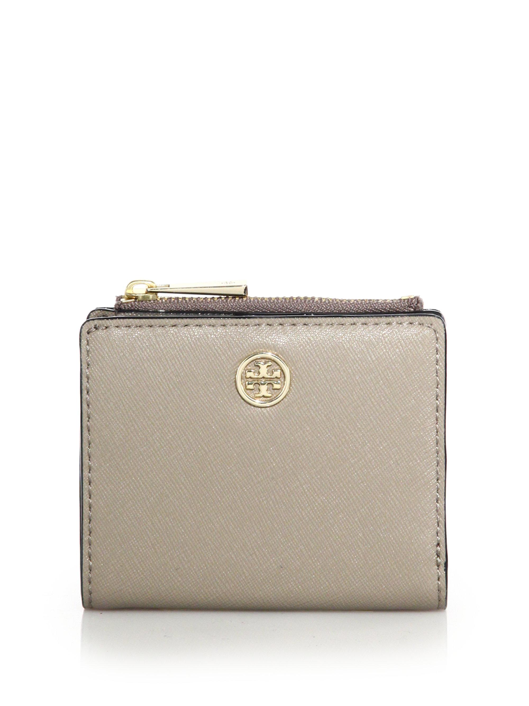 5a87f013454b ... australia lyst tory burch robinson mini saffiano leather wallet in gray  cccba 501c9