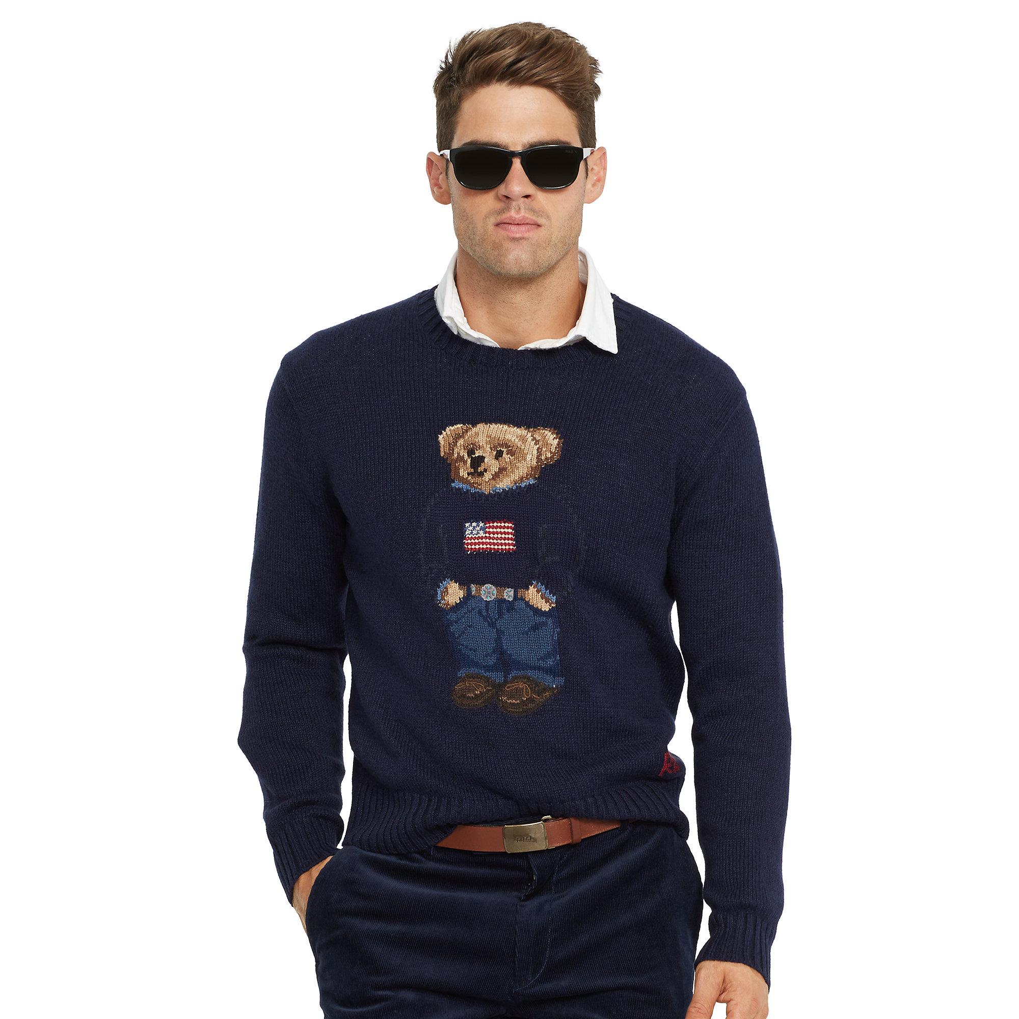 4a27a8266fe7 Lyst - Polo Ralph Lauren Flag Polo Bear Sweater in Blue for Men