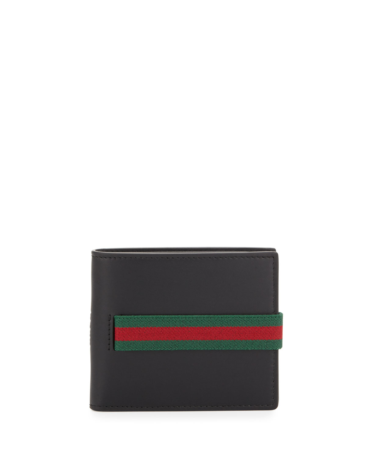 91dce61aaa06 Lyst - Gucci Elastic Leather Wallet in Black for Men