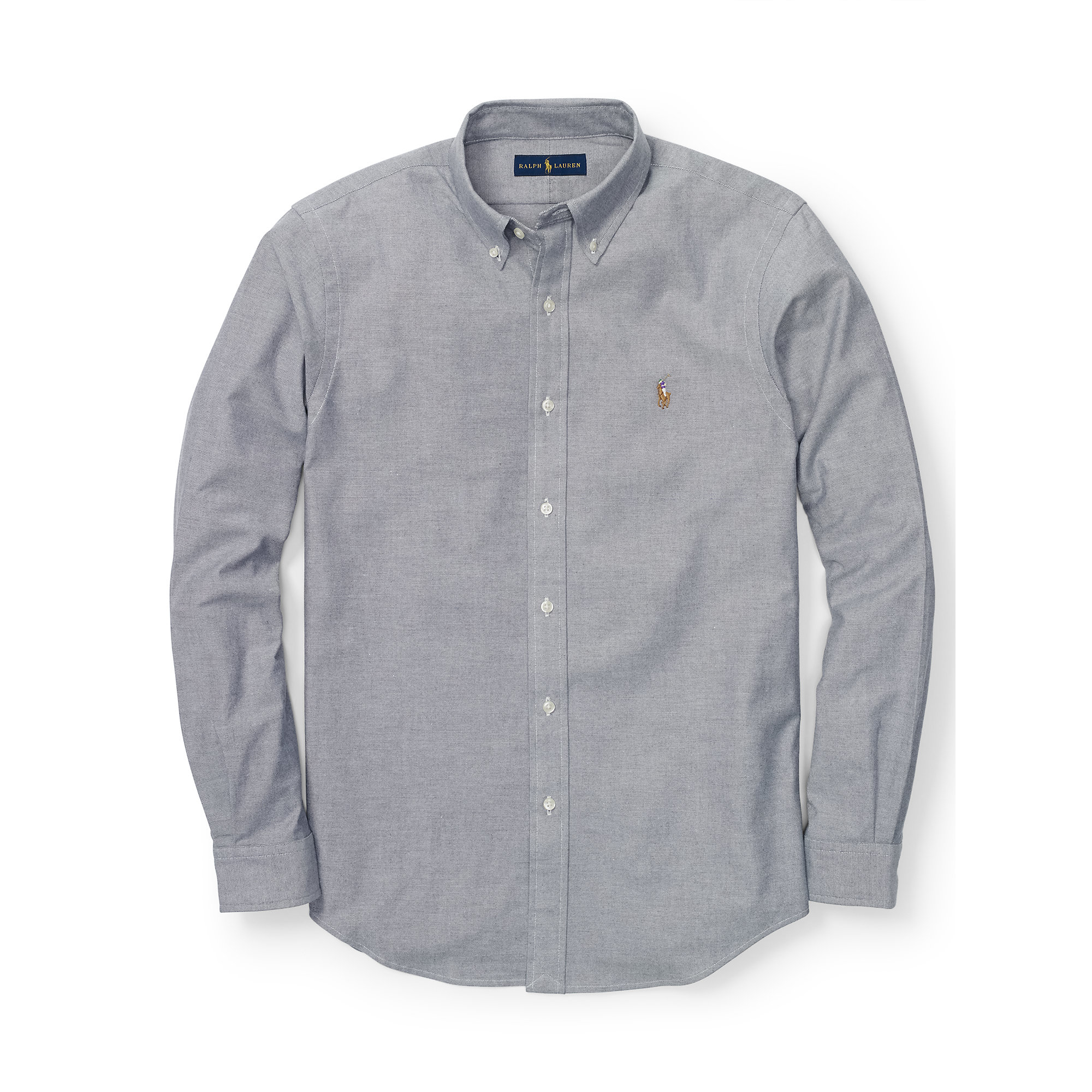 d79606c5 Polo Ralph Lauren Slim-fit Stretch Oxford Shirt in Gray for Men - Lyst