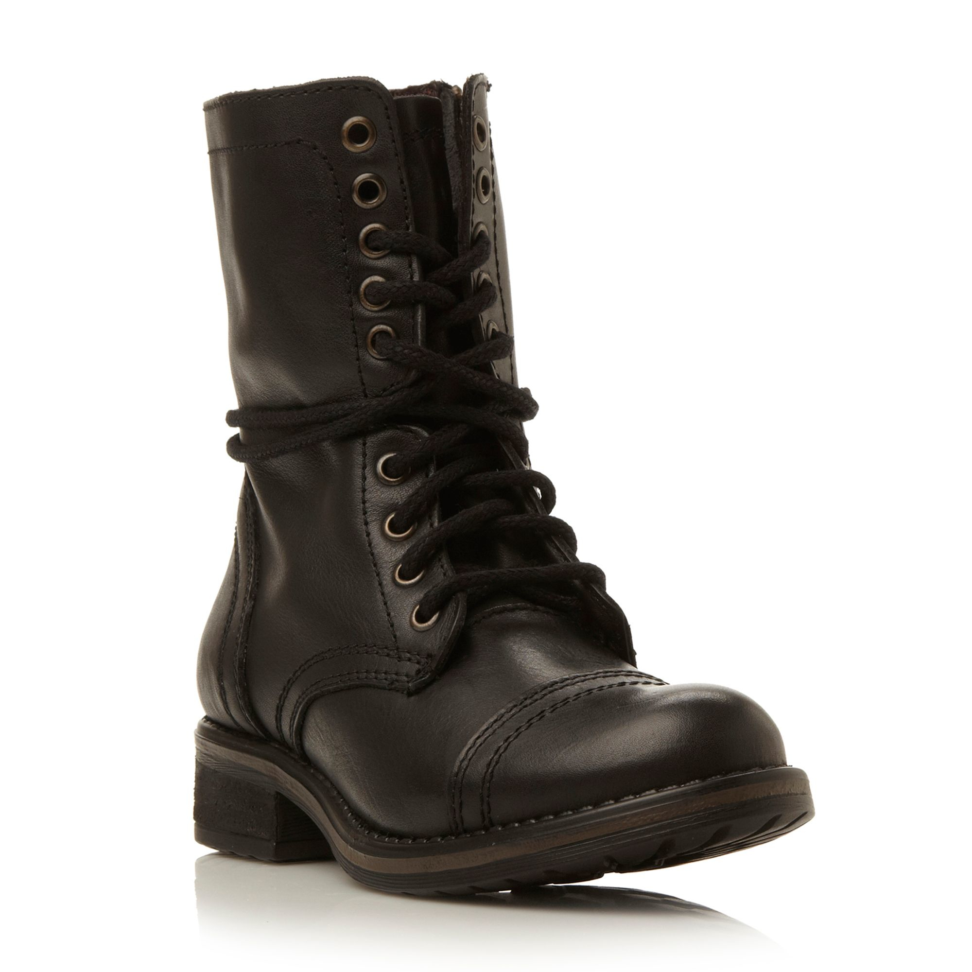 steve madden troopa 2 0 sm leather lace up calf boot in