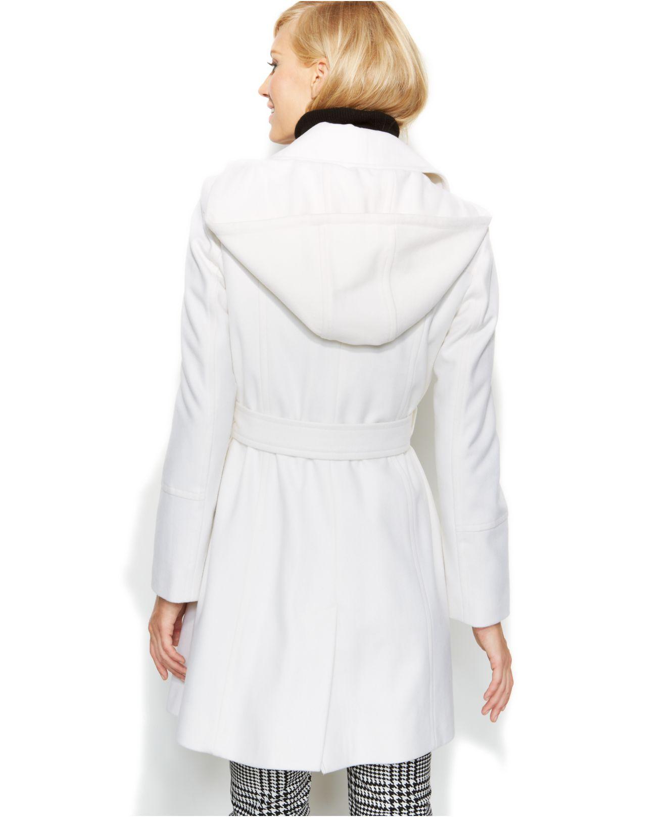 Michael kors Michael Hooded Belted Wool-Blend Coat in White   Lyst