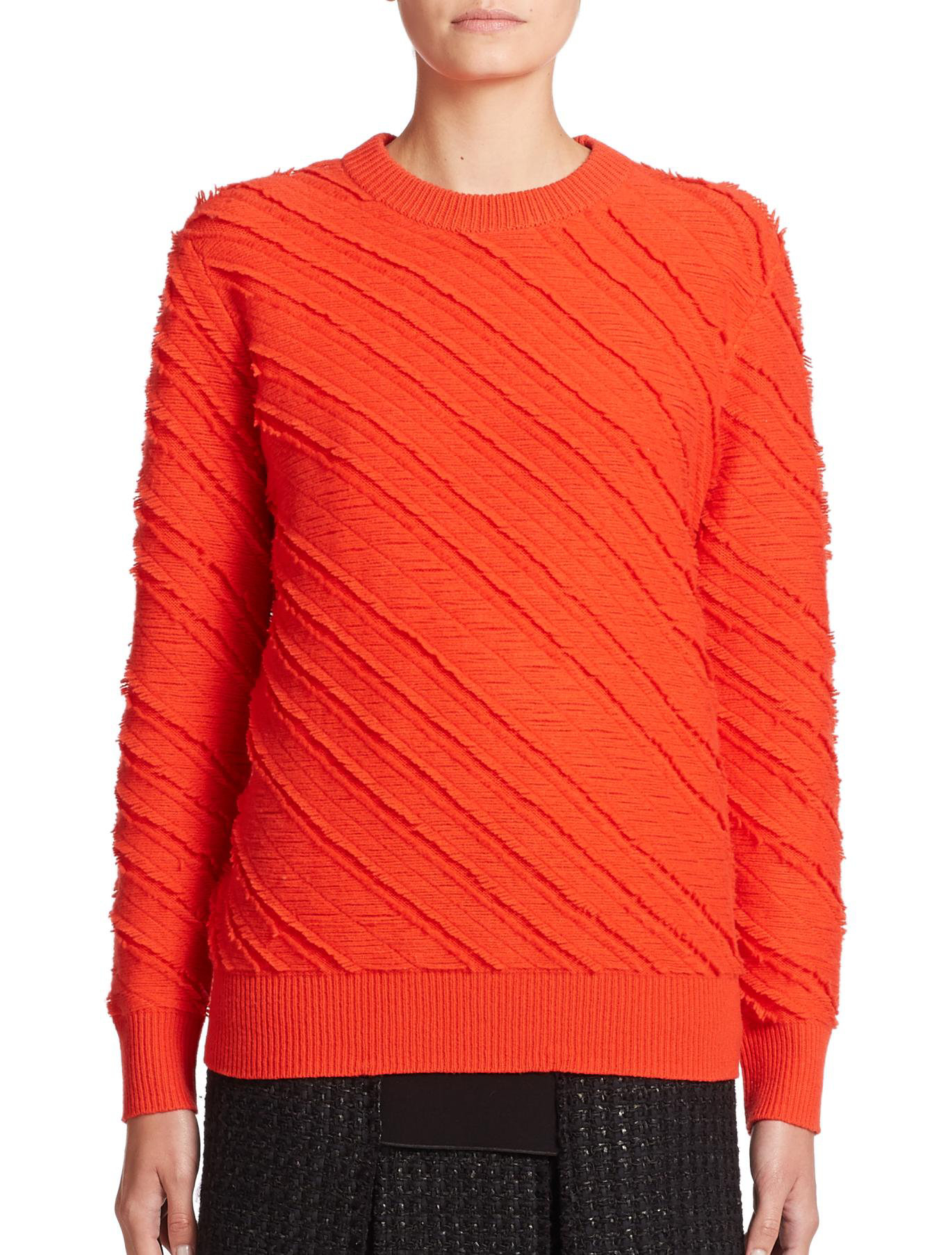 Proenza schouler Fringe Wool Jacquard Sweater in Red | Lyst