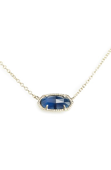Kendra Scott Elisa Pendant Necklace Navy Gold In Blue