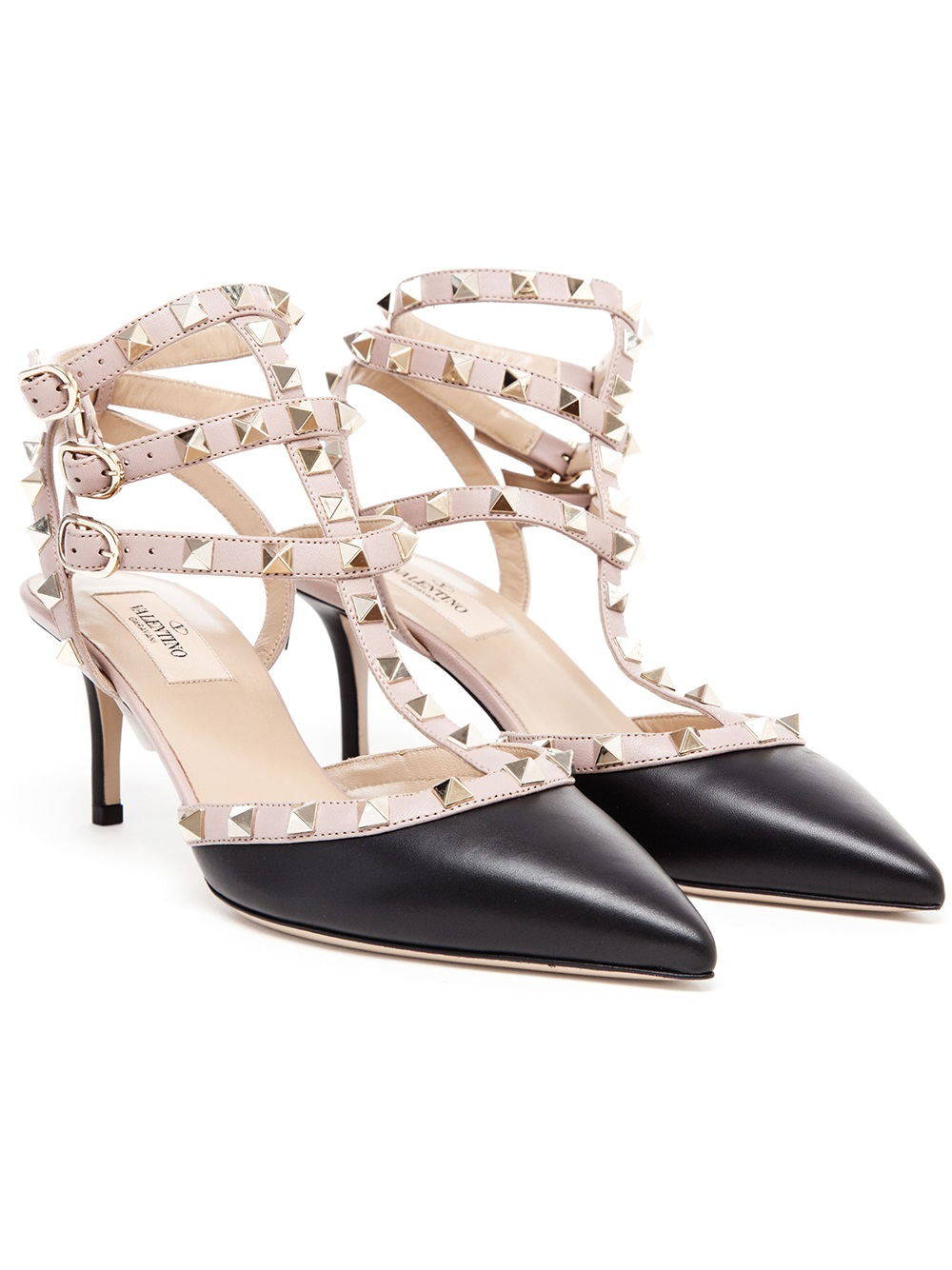 3811cac066e Lyst - Valentino Rockstud Leather Kitten Heels in Black