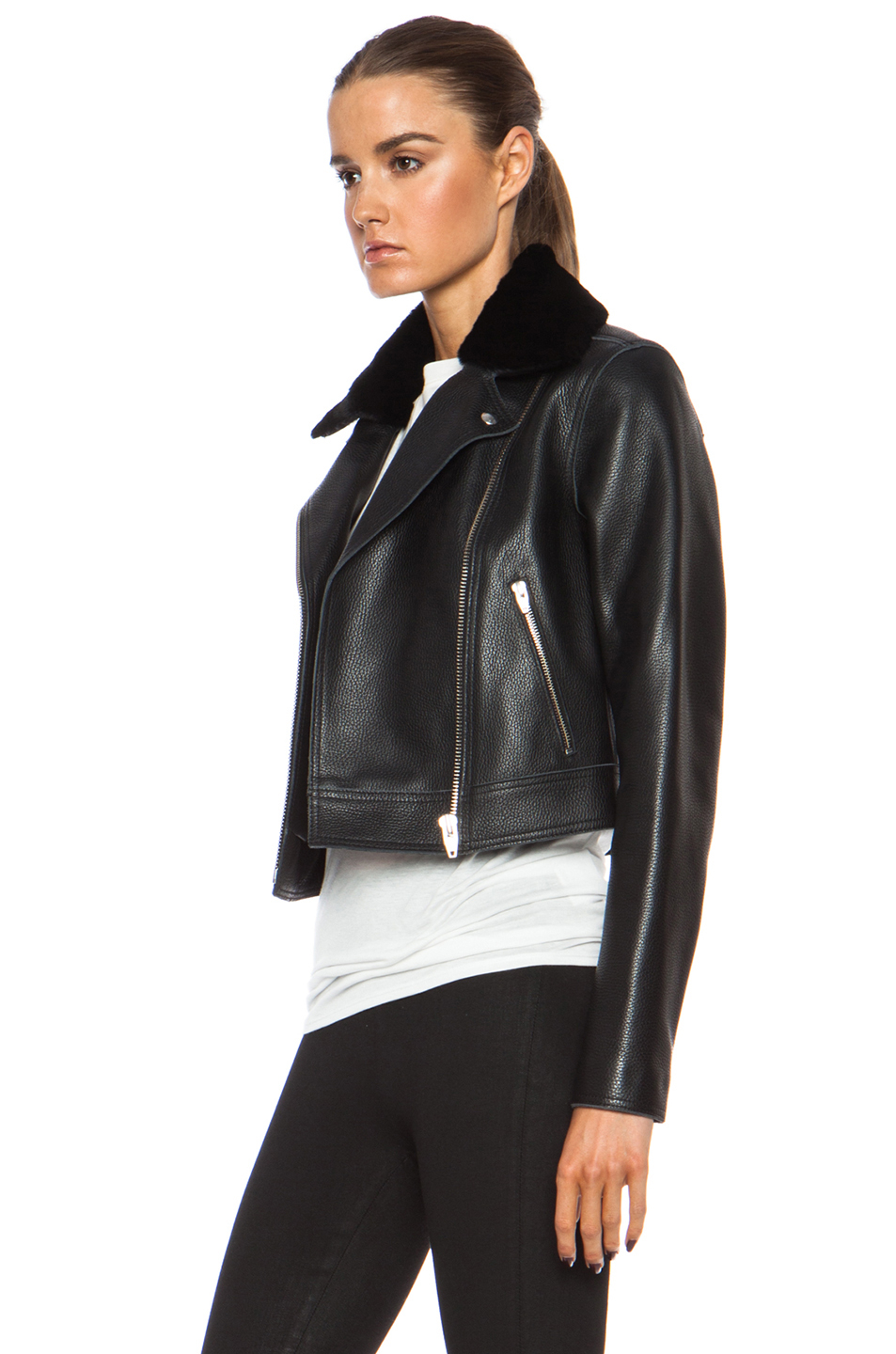 T By Alexander Wang Motorcycle Leather Jacket With Fur