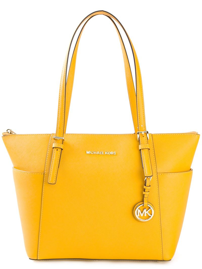 lyst michael michael kors 39 jet set travel 39 tote in yellow. Black Bedroom Furniture Sets. Home Design Ideas