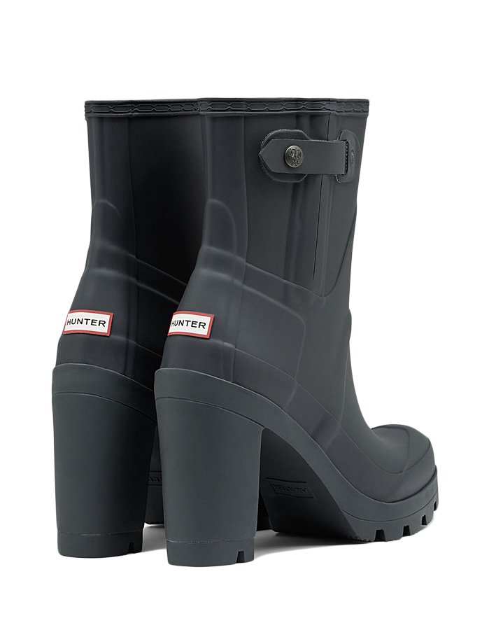 Hunter Block-Heeled Rubber Rain Boots in Gray | Lyst
