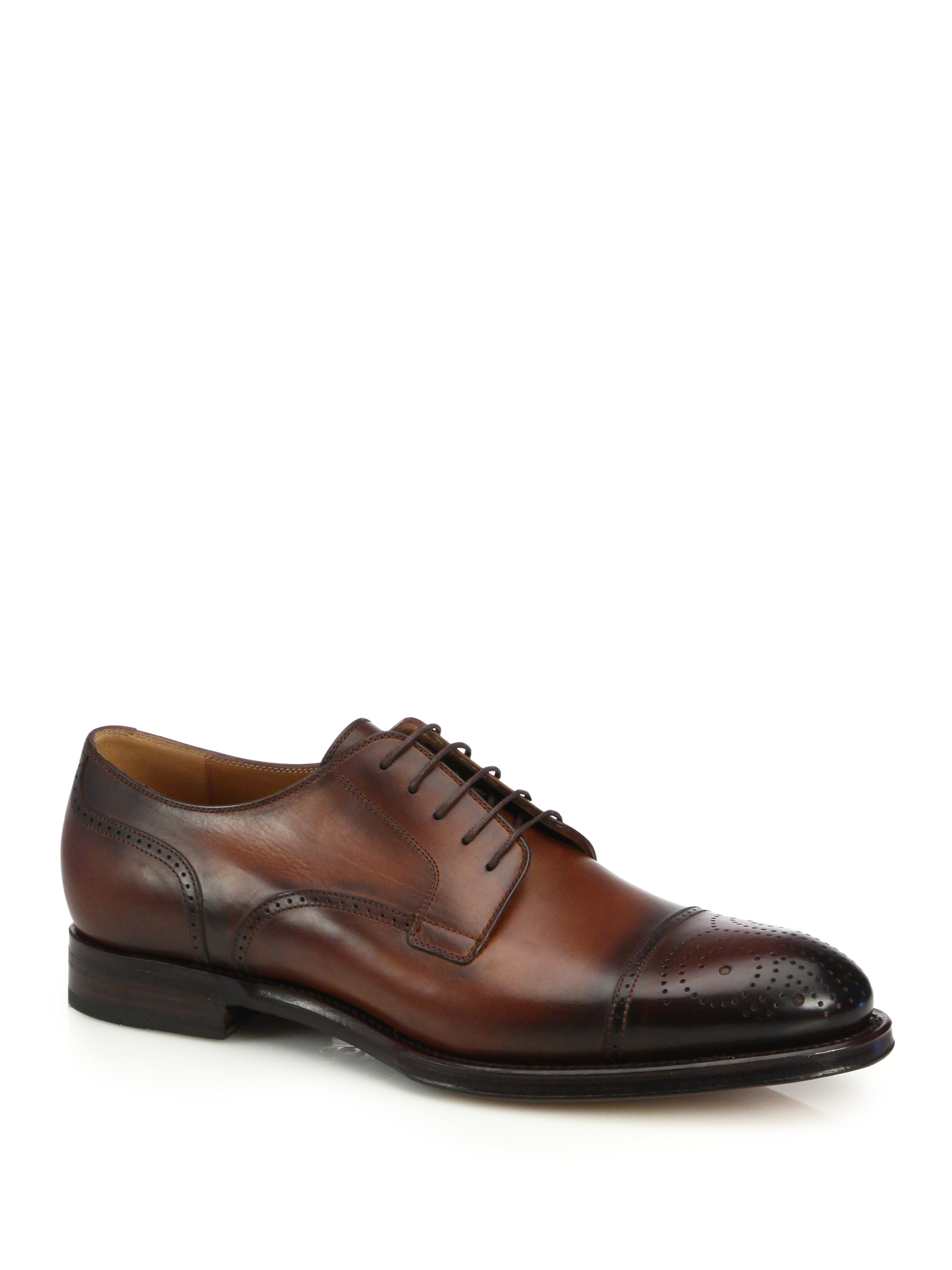 gucci perforated leather derby shoes in brown for lyst