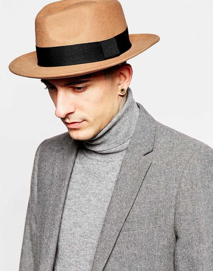 Lyst - ASOS Pork Pie Hat In Camel Felt With Wide Brim in Brown for Men bc91b8038bc