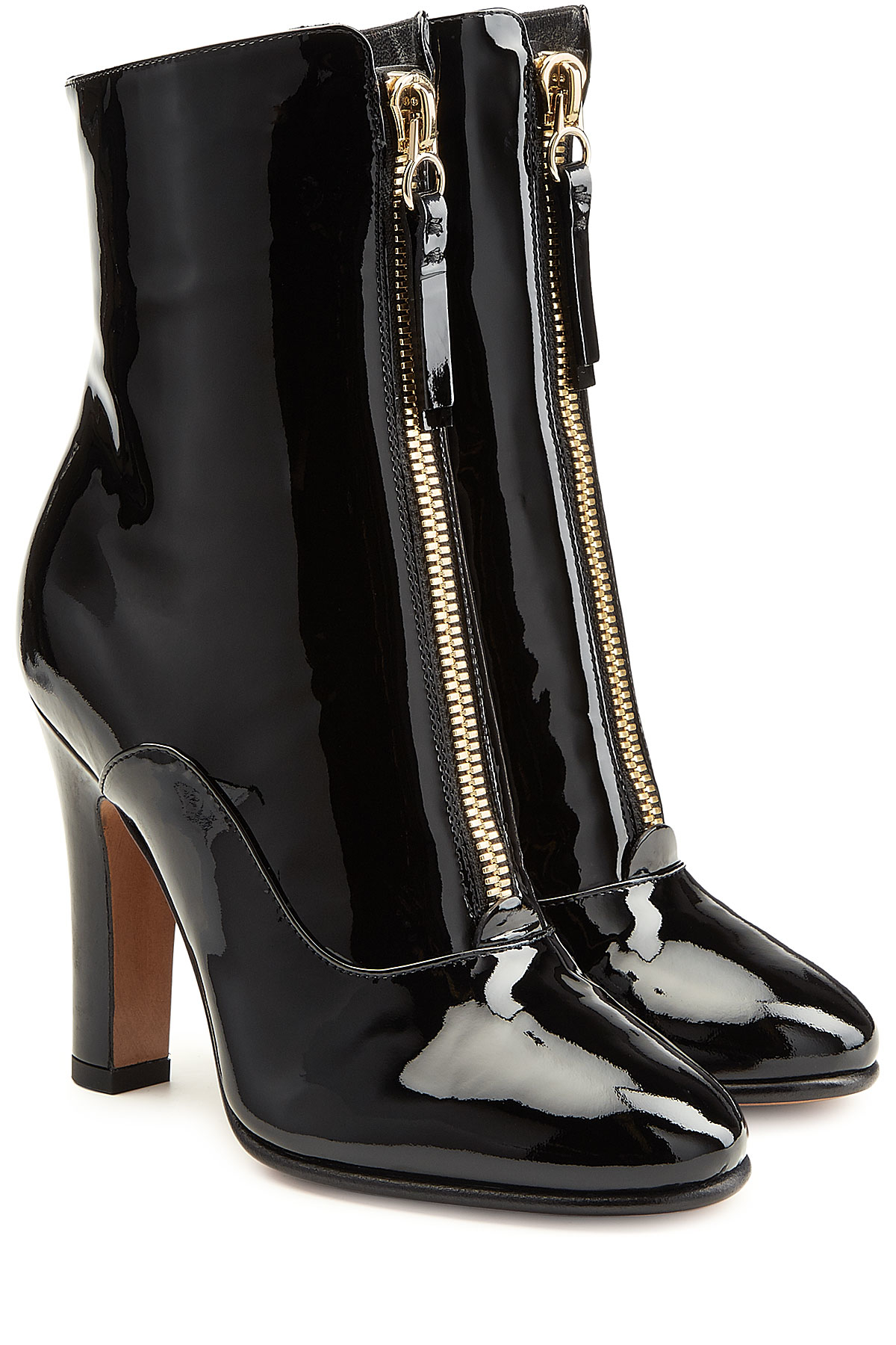 2508a353ecf Valentino Patent Leather Ankle Boots in Black - Lyst